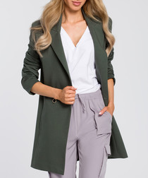 Military two-button longline jacket