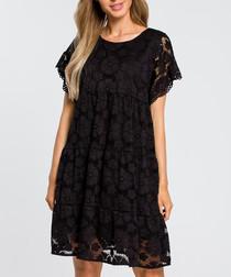 Black lace short sleeve mini dress