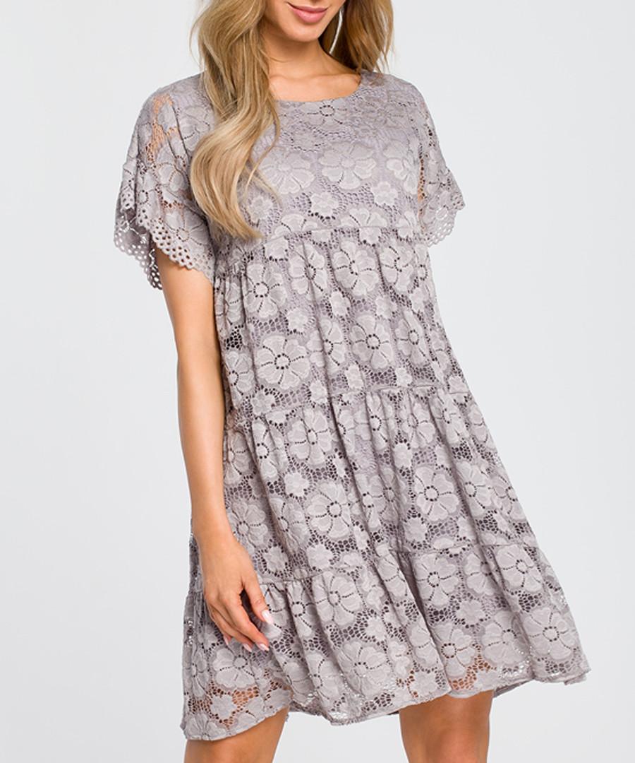 Grey lace short sleeve mini dress Sale - made of emotion