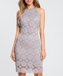 Grey lace jewel neck mini dress