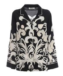 Phoenix black silk pyjama shirt