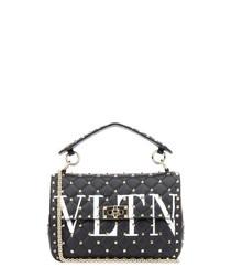 Black leather rockstud logo shoulder bag