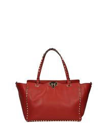 Red leather winged shoulder bag