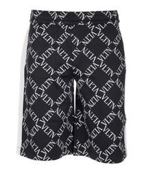 Black cotton blend logo printed shorts