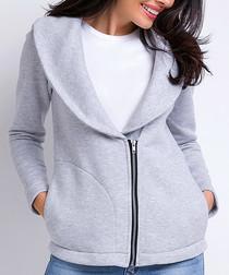 Grey cotton blend zip-up jacket