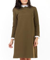 Khaki cotton blend collared dress