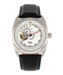 Astro silver-tone & black leather watch