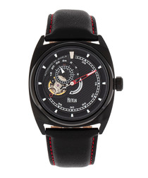 Astro black leather watch
