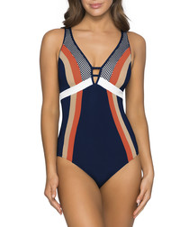Ink D-DD stripe plunge swimsuit
