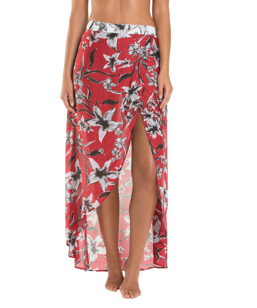 Oasis Chilli red silk blend wrap skirt Sale - JETS
