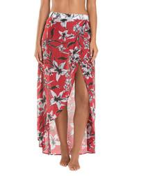 Oasis Chilli red silk blend wrap skirt