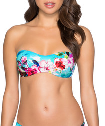 Multi-colour tropical bandeau bikini top