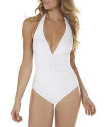 White halter swimsuit