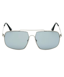 Silver-tone & grey aviator sunglasses
