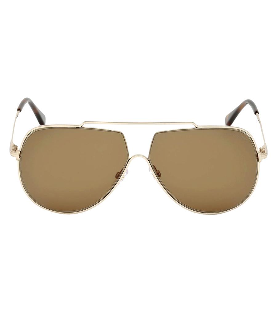 Gold-tone & brown aviator sunglasses Sale - tom ford