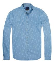 Blue combo pure cotton shirt