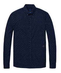 Dark navy print pure cotton shirt