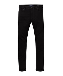 Black cotton blend jeans