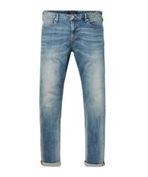 Pale blue cotton blend jeans