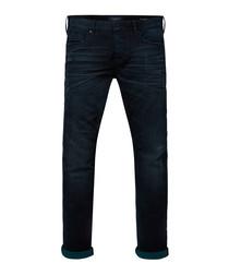Dark wash cotton blend jeans