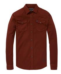 Mahogany pure cotton long sleeve shirt