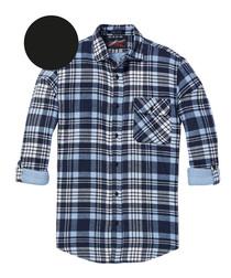 Blue check pure cotton long sleeve shirt