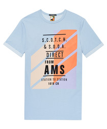 Sky blue pure cotton graphic T-shirt