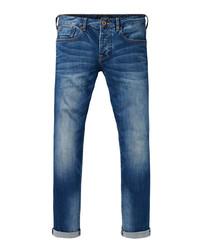 Blue cotton blend jeans