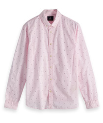 Pale pink print pure cotton shirt