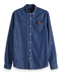 Indigo pure cotton long sleeve shirt