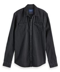 Black pure cotton long sleeve shirt