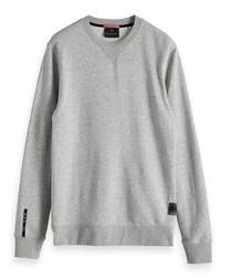 Grey melange cotton blend sweatshirt