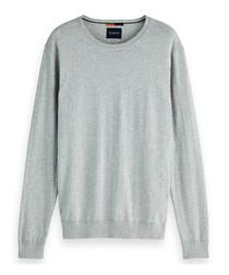Grey melange cotton blend jumper