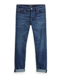 Blauw Post blue cotton jeans