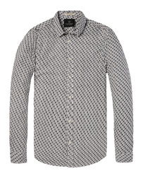 Palm print cotton long sleeve shirt