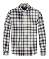 Check pure cotton long sleeve shirt