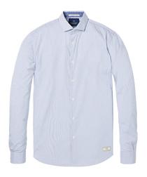 Pale blue cotton blend shirt