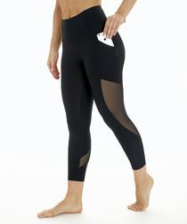 Dancer black mesh capri leggings