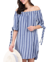 Blue pure linen stripe mini dress