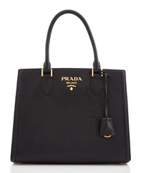 Black saffiano leather grab bag