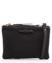 Black leather trim crossbody