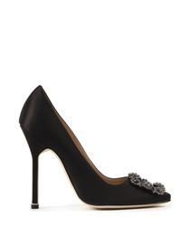 Black silk embellished heels