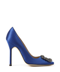 Blue silk embellished heels