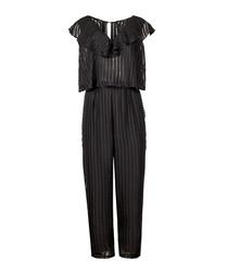 Glisten jet black ruffle jumpsuit