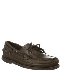 Schooner Waxed brown gum boat shoes