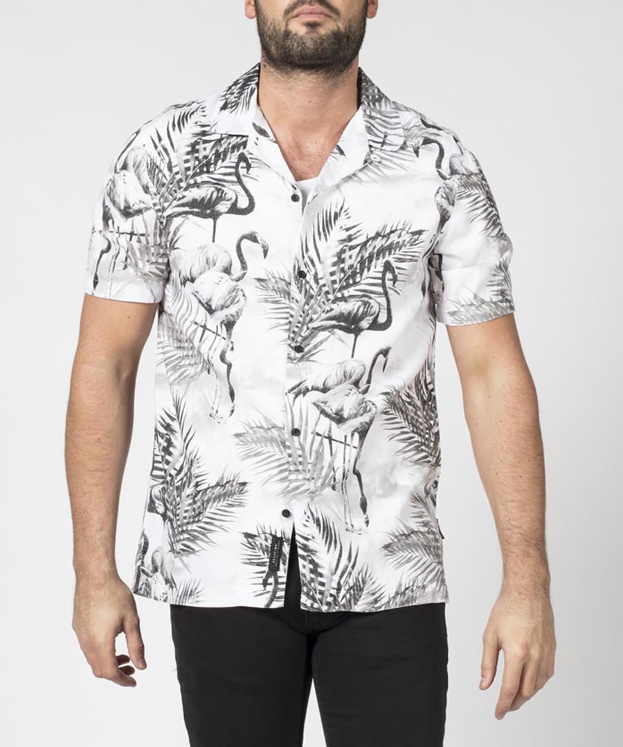 Flamingo white & black printed shirt Sale - religion