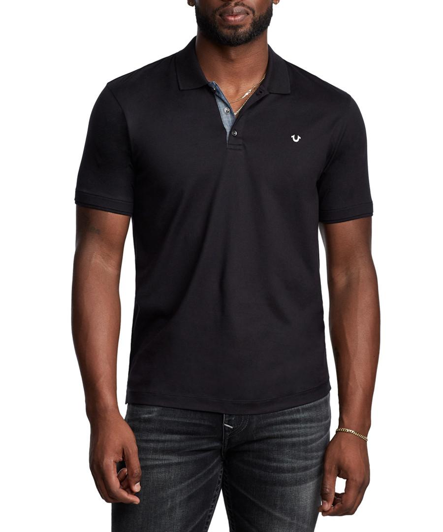 Black pure cotton polo shirt Sale - true religion