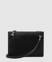 Guccissima black leather messenger
