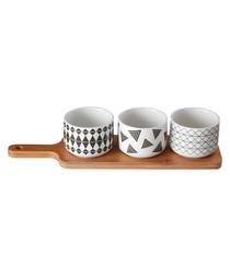 Patterned snack bowls & serving board