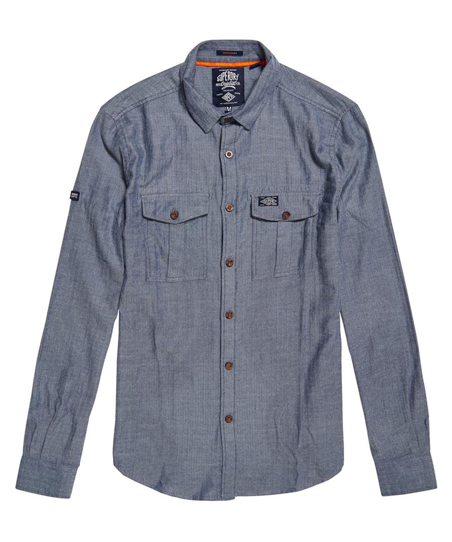 Blue Herringbone Fjordmans Work Shirt Sale - superdry
